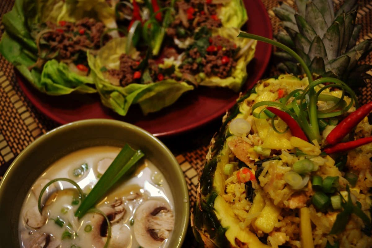 Thai Dinner ft. Coconut Chicken Soup, Beef Larb, and Pineapple Chicken Fried Rice