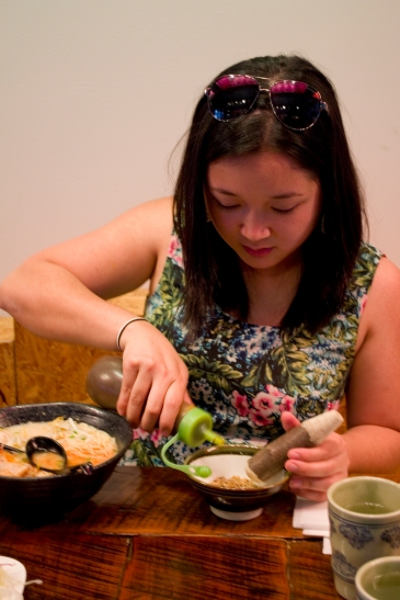 """The making of the """"grinding sauce"""" for the Fish Katsu"""