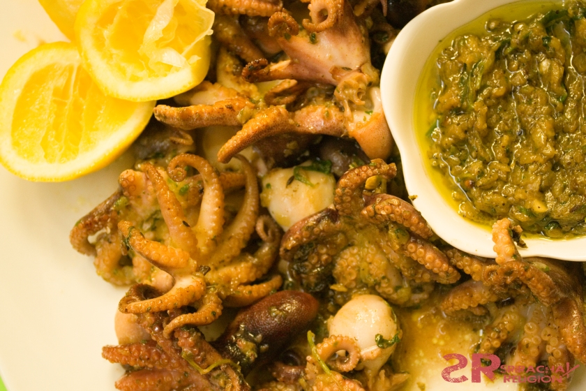 Baby Octopus with Green Zhoug